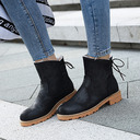 Women's PU Chunky Heel Platform Boots Ankle Boots Snow Boots With Lace-up shoes