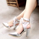 Women's Leatherette Chunky Heel Sandals Pumps Closed Toe Ankle Boots With Lace-up shoes