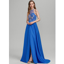 A-Line Scoop Neck Sweep Train Satin Prom Dresses With Beading Sequins Split Front (018224412)