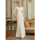 A-Line Scoop Neck Floor-Length Chiffon Lace Wedding Dress With Beading Sequins (002250139)