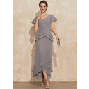 Sheath/Column V-neck Asymmetrical Chiffon Mother of the Bride Dress With Appliques Lace Cascading Ruffles (008235593)