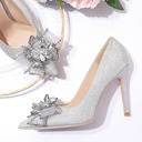 Women's Leatherette Sparkling Glitter Stiletto Heel Closed Toe Pumps With Bowknot Sequin Crystal