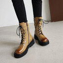 Women's Microfiber Leather Low Heel Mid-Calf Boots Martin Boots Round Toe With Buckle Lace-up Solid Color shoes