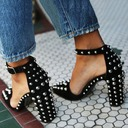 Women's Suede Chunky Heel Sandals Pumps Closed Toe With Rivet Buckle shoes