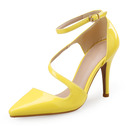 Women's Patent Leather Stiletto Heel Pumps Closed Toe With Buckle shoes