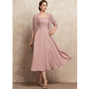 A-Line Square Neckline Tea-Length Chiffon Lace Mother of the Bride Dress With Beading Sequins (008225557)
