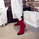 Women's Suede Stiletto Heel Pumps Boots Mid-Calf Boots With Zipper Lace-up shoes