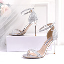 Women's Leatherette Sparkling Glitter Stiletto Heel Peep Toe Sandals With Sequin