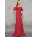 Trumpet/Mermaid Off-the-Shoulder Sweep Train Chiffon Evening Dress With Sequins (017235898)