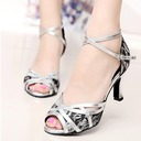 Women's Lace Heels Pumps Latin With Ankle Strap Dance Shoes
