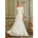 A-Line Off-the-Shoulder Asymmetrical Chiffon Lace Wedding Dress With Lace Sequins (002250140)
