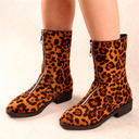 Women's Suede Chunky Heel Boots With Zipper shoes