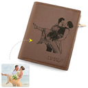 Groomsmen Gifts - Personalized Mens Custom Engraved Photo Engraved Leather Wallet