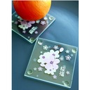 """Tea Time""/Lovely Square Glass Tea Party Favors/Coaster (Set of 2 pieces)"