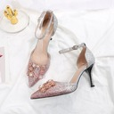 Women's Sparkling Glitter Stiletto Heel Closed Toe With Buckle Crystal