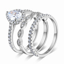 Milgrain Heart Cut 925 Silver Bridal Sets