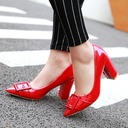 Women's Patent Leather Chunky Heel Pumps Closed Toe With Buckle shoes
