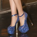 Women's Sparkling Glitter Stiletto Heel Closed Toe With Buckle