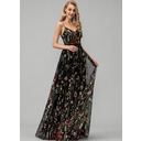 A-Line V-neck Floor-Length Lace Prom Dresses With Beading (018220251)