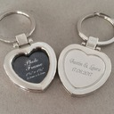 Personalized Heart-shaped Stainless Steel/Zinc Alloy Keychains (Set of 4)