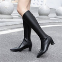 Women's PU Chunky Heel Knee High Boots With Zipper shoes
