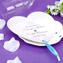 Personalized Heart Shaped Paper Hand Fans With Ribbons (Set of 12)