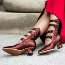Women's PU Chunky Heel Pumps With Lace-up Hollow-out shoes