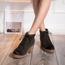 Women's Suede Stiletto Heel Closed Toe Boots Ankle Boots Martin Boots With Lace-up shoes