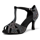 Women's Satin Heels Latin Jazz Belly With Rhinestone Dance Shoes