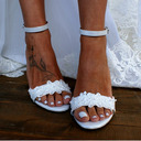 Women's Leatherette Chunky Heel Sandals Beach Wedding Shoes With Applique