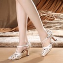 Women's Fabric Heels Ballroom With T-Strap Dance Shoes