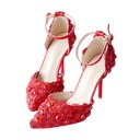 Women's Leatherette Stiletto Heel Closed Toe With Stitching Lace Crystal
