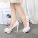 Women's Leatherette Stiletto Heel Pumps Closed Toe With Bowknot shoes