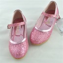 Girl's Closed Toe Sparkling Glitter Low Heel Flats Flower Girl Shoes With Sparkling Glitter