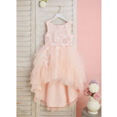 Ball-Gown/Princess Asymmetrical Flower Girl Dress - Tulle Sleeveless Scoop Neck With Lace/Flower(s)/V Back (010255676)