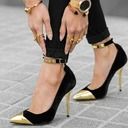 Women's Suede Stiletto Heel Sandals Pumps Closed Toe With Sequin Buckle shoes
