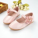Girl's Closed Toe Microfiber Leather Flat Heel Flats Flower Girl Shoes With Beading Velcro Flower