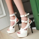Women's Patent Leather Stiletto Heel Sandals Pumps Peep Toe With Buckle Hollow-out shoes