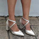 Women's Leatherette Chunky Heel Closed Toe With Lace-up