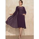 Sheath/Column Scoop Neck Knee-Length Chiffon Lace Mother of the Bride Dress With Beading (008235566)