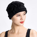 Ladies' Simple/Artistic Wool With Silk Flower Bowler/Cloche Hats