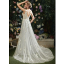 A-Line V-neck Court Train Wedding Dress With Lace (002254041)