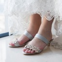 Women's Satin Kitten Heel Flip-Flops Peep Toe Sandals Slingbacks With Rhinestone