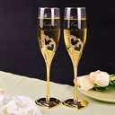 Groom Gifts - Personalized Heart Glass Zinc Alloy Champagne Flutes (Set of 2)