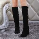 Women's Suede Chunky Heel Pumps Boots Knee High Boots With Zipper Button shoes