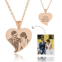 Custom 18k Rose Gold Plated Silver Heart Black And White Photo Engraved Engraved Necklace Photo Necklace - Birthday Gifts