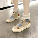 Women's Fabric Low Heel Boots With Split Joint shoes