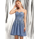 A-Line Sweetheart Short/Mini Tulle Homecoming Dress With Beading Sequins (300255065)