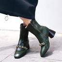 Women's Leatherette PU Cone Heel Pumps Boots With Chain shoes
