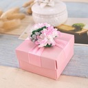 Flower Design Cubic Favor Boxes & Containers With Flowers (Set of 12)